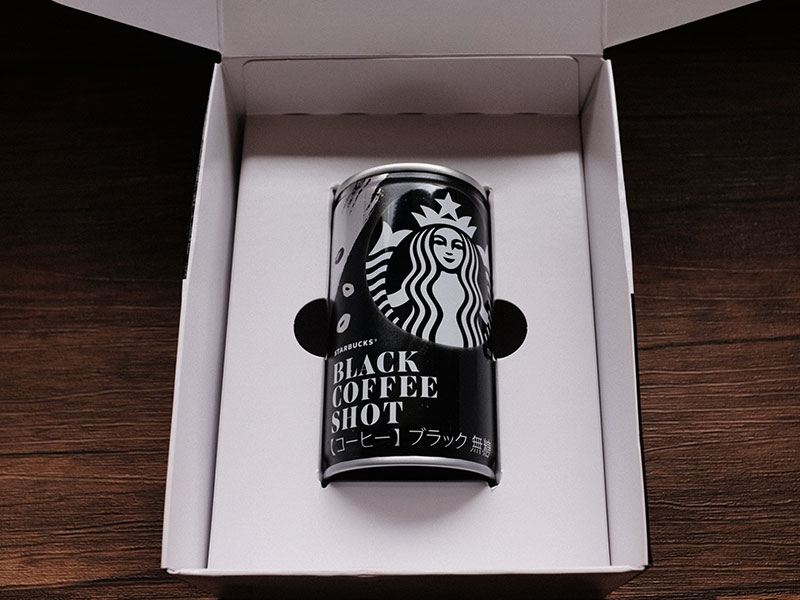 「ブラックコーヒーショット」の缶の梱包の写真