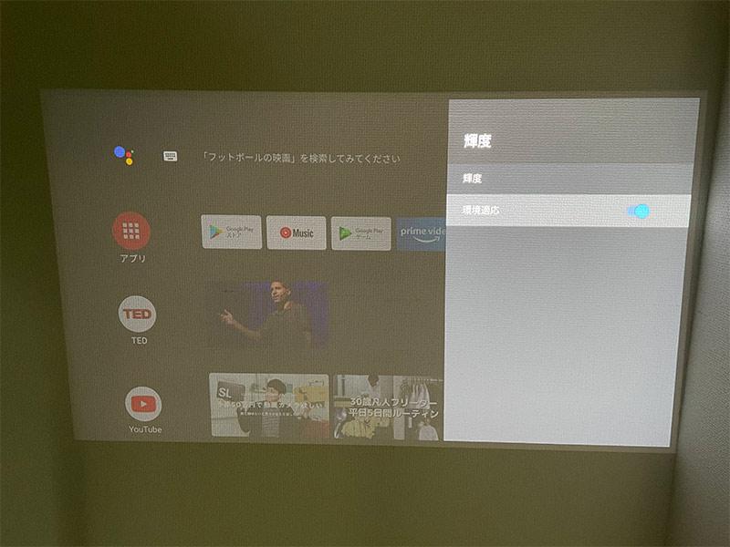 「HORIZON Pro」の輝度調整画面