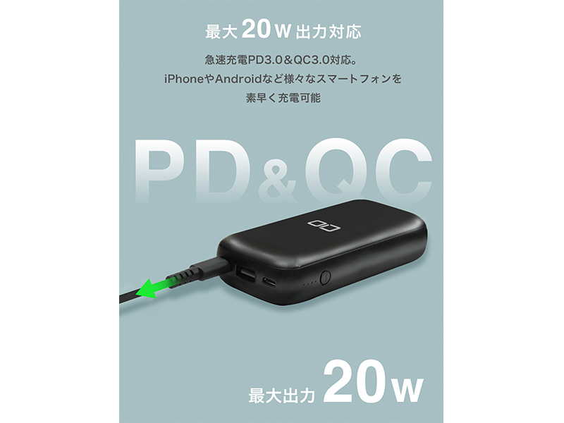 「CIO-MB20W-10000」のPD(PowerDelivery)、QC(Quick Charge)のの説明写真