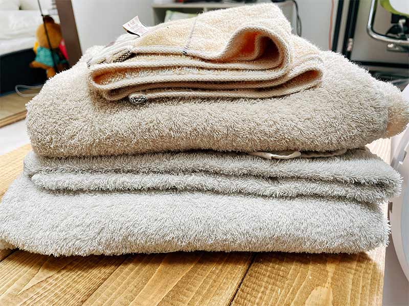 乾燥を終えたタオルの画像