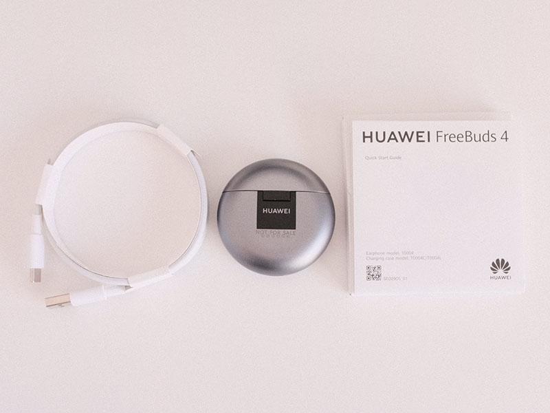HUAWEI FreeBuds 4と付属品の写真